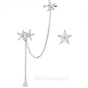 SLUYNZ 925 Sterling Silver Daisy Flowers Cuff Earrings Chain for Women Teen Girls Asymmetric CZ Daisy Earrings Crawler Earrings Dangling Chain