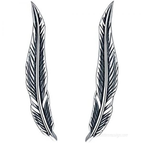SLUYNZ 925 Sterling Silver Feather Crawler Earrings for Women Teen Girls Climber Earrings Cuff Earrings Wrap (Feather Earrings)