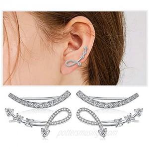 Sterling Silver Cubic Zirconia Ear Climber - Hypoallergenic Ear Cuffs Crystal Ear Crawler Cuff Earrings Set for Women Girls