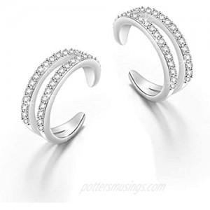 Valentine's Day Gifts 925 Sterling Silver Ear Cuff Non Pierced Cuffs Hoop Huggie Earrings for Women Girls- Set of 2