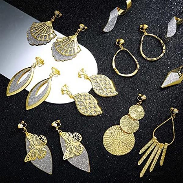 16 Pairs Gold Clip on Earrings Set Bohemian Clip on Hoop Dangle Drop Earrings Tassel Statement Earrings Non Piercing Earrings for Girls Women