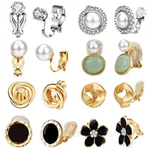 Clip Earrings for Women Hicdaw 8 Pairs Clip on Earrings for Women Non Pierced Clip On Earrings for Rose Flower CZ Simulated Freshwater Pearl Twist Knot Hypoallergenic Earrings for Girls Jewelry