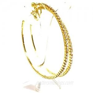 Clip-on Earrings Gold Tone Crystal Hoop Earrings 2.75 Inch Clip Hoop Earrings for Non Pierced Ears