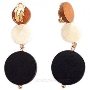 Clip On Earrings Round Dangle Delicate Circle Earrings Gold Plated Banquet Gift