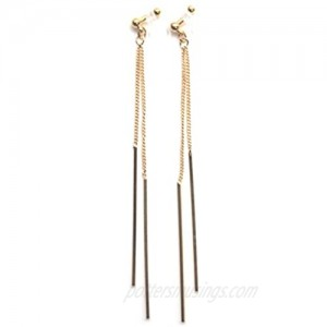 Comfortable Stick Invisible Clip On Earrings Gold Dangle Long Waved Threader Bar Clip-On Non Pierced Earrings Silver For Women Miyabi Grace…