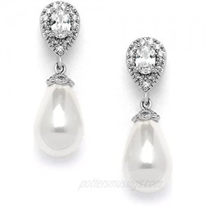 Mariell Glass Pearl Drop Clip On Earrings with Pear-Shaped CZ Halos for Wedding Bridal Formal & Fashion
