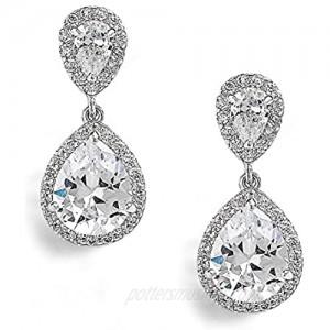 Mariell Teardrop Clip On Dangle Earrings - Pear Shaped Cubic Zirconia Bridal Wedding Earrings for Women