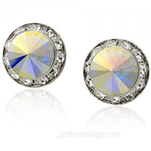 PammyJ Aurora Borealis 15mm Round Crystal CLIP-ON Earrings