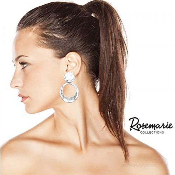 Rosemarie Collections Women's Statement Matte Hammered Metal Disc Hoop Dangle Clip on Style Earrings 2.75