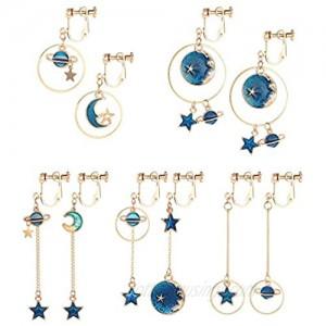 SAILIMUE 5Pairs Clip on Earrings Dangle Set for Women Teen Girls Cute Moon and Star Earrings Non Pierced Ear Clip Saturn Earrings