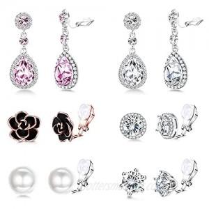SAILIMUE 6 Pairs Clip Earrings Set For Women Crystal Teardrop Drop Dangle Clip Earrings Sparkle CZ Rose Flower Pearl Non PiercedEarrings Set Wedding Bridal Earrings