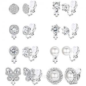 SAILIMUE 8 Pairs Cubic Zirconia Clip on Earrings for Women Non Piercing Silver Faux Pearl CZ Butterfly Earrings Hypoallergenic Non Pierced Clip on Earrings Set