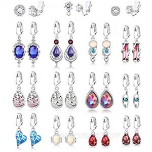 Thunaraz 15 Pairs Teardrop Dangle Clip on Earrings for Women Boho Opal Moonstone Crystal Drop Clip Earrings Sparkly Geometric Round Cubic Zirconia Earrings Non-Pierced Wedding Jewelry Set