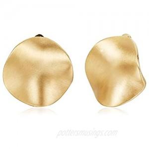 TONLUYAX Gold-Tone Clip on Earrings for Women Not Pierced Big Hammered Disc Clip Earrings