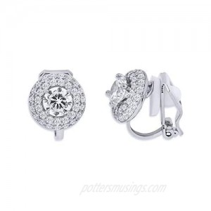 YOQUCOL Cubic Zirconia CZ Crystal Clip On Earrings For Women Non Pierced Stud Jewelry