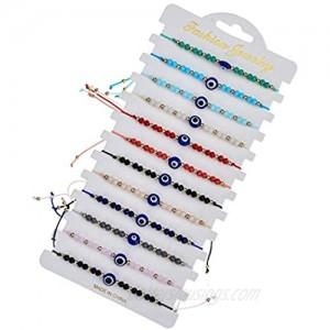 12 Pcs Colorful Evil Eye Beaded Bracelets Hamsa Handmade Braided String Turkish Nazar Amulet Cord Thread Bracelet Anklet Good Luck Blue Lucky Eye Mal De Ojo Jewelry for Protection
