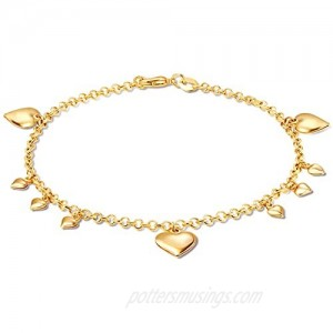 Barzel 18K Gold Plated Rolling Link With Heart Charms Anklet
