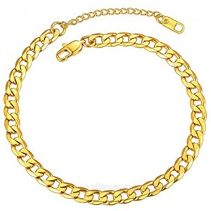 ChainsPro Resizable Anklet Chain for Women Men  Figaro/Wheat/Twist Rope/Cuban Foot Bracelet-Strong with Good Clasp-18K Gold Plated(Send Gift Box)