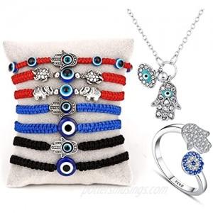 HelpYou Combo 2021 Evil Eye Necklace Silver 7 Lucky Love Evil Eye Bracelet Adjustable Red String Ring Anklet Beads Gifts for Family Couple Bestfriend Women Men Girls