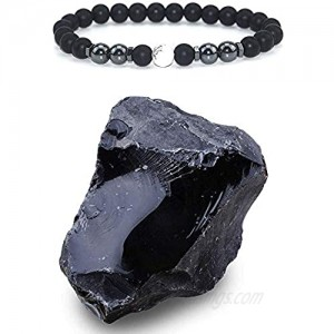 Mountainish 10pcs feng Shui Anti-Swelling Black Obsidian Anklet Adjustable Magnet Natural Stone Healing Crystal Triple Protection Bracelet Anklet for Men and Women Energy Stones for Anxiety Stress