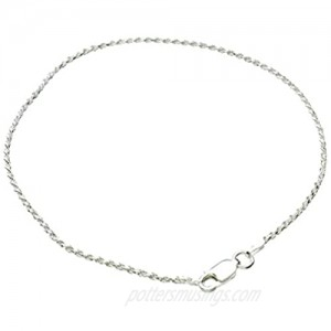 """Sterling Silver 1.5mm Diamond-Cut Rope Nickel Free Chain Anklet Italy  9"""""""