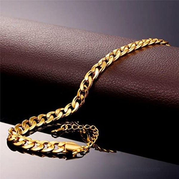 U7 Women Girls Barefoot Jewelry 18K Gold or Rose Gold Stainless Steel Infinity/Heart Charm/Rope/Figaro/Cuban Chain Anklet Foot Bracelet 25-30 cm Long
