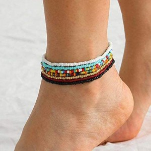 VFlowee Boho Handmade Beaded African Anklets Multicolor Women Stretch Seed Beads Rainbow Ankle Bracelets Glass Bead Bracelet Elastic Foot and Hand Chain Jewelry (7PCS)
