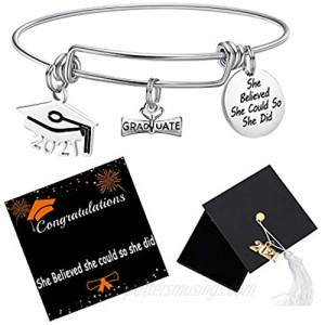 2021 Graduation Gift Graduation Cap Bangle Bracelet Compass Expandable Bracelet Inspirational Jewelry for Women She Believed She Could So She Did