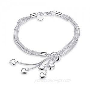 925 Sterling Silver Five-Line Chain with Five-Heart Bracelet Bangle