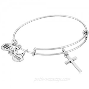 Alex and Ani Divine Guides Expandable Bangle Bracelet for Women  Cross Charm  2 to 3.5 in