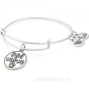 Alex and Ani Expandable Wire Bangle Bracelet for Women Dog or Cat Mom Charm Rafaelian Finish 2 to 3.5 in