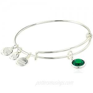 Alex and Ani Replenishment 19 Women's Swarovski Code Charm Bangle May  Emerald Color  Shiny Silver  Expandable