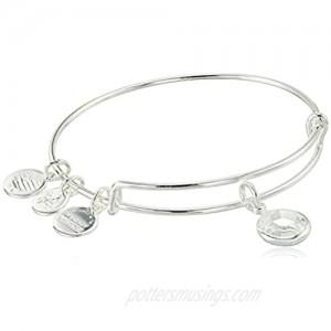 Alex and Ani Women's Swarovski Color Code Bangle April Clear Crystal Bracelet  Shiny Silver  Expandable