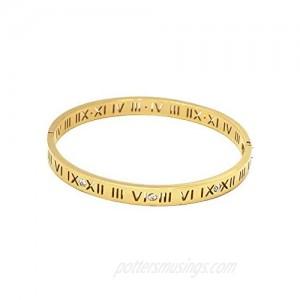Baoli Zircon Jewelry Roman Numerals Bangle Bracelet for Women (Yellow Gold)