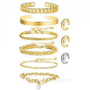 Gold Cuban Chain Bracelet Set & Open Dome Rings Set 14K Gold Plated Cuff Bangles Bracelets for Women Girls (9PCS)