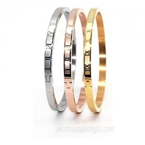 Gold Silver Rose Gold Plated Bracelets for Men Women Roman Numeral Bangle Bracelet Stainless Steel Personalized Engraved Unisex Gift