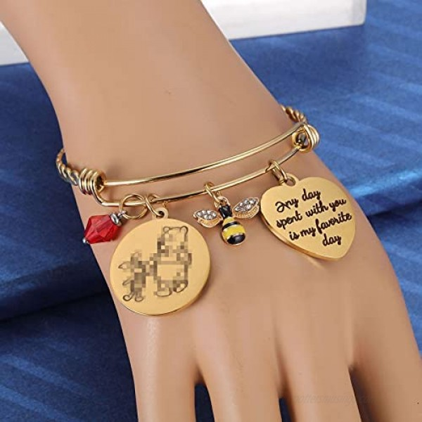 Kvekstio Classic Winnie The Pooh and Piglet Quote Any Day Spent with You is My Favorite Day Friendship Honey Bee Charm Gold Bangle Bracelet for Women