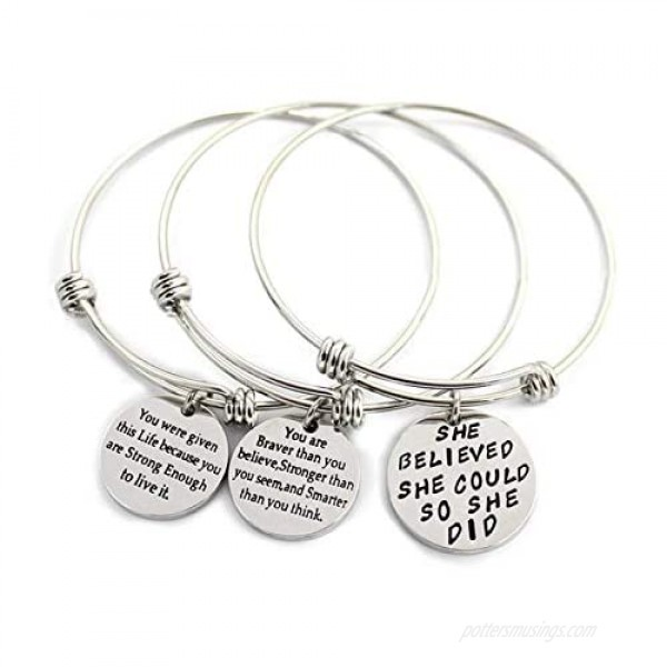 L.Beautiful 3 Pack Women Engraved Message Inspirational Words Round Charm Bracelets Set Expandable Silver Plated Stainless Steel Motivational Bangle Bracelet with Gift Box