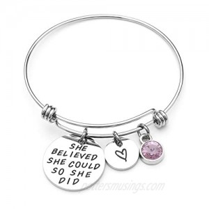 LIUANAN She Believed She Could So She Did Expandable Bangle Birthstone Charm Stainless Steel Cuff Bracelet