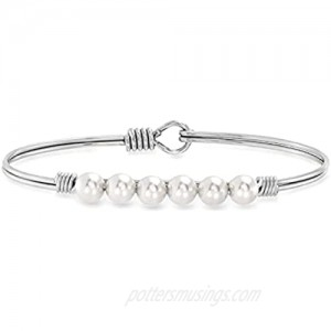 Luca + Danni | Crystal Pearl Bangle Bracelet In Classic White For Women Made in USA