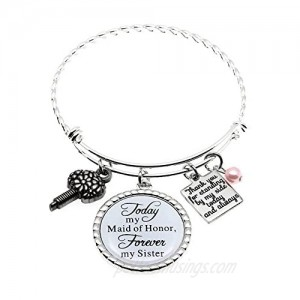 Maid of Honor Gift Bridesmaid Gift Always my Sister Bangle Today My Maid of Honor/Marton of Honor Forever My Sister Gift Wedding Adjustable Bracelet