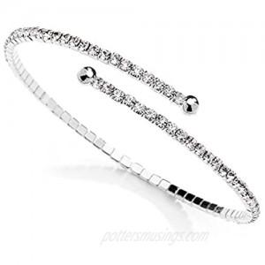 Mariell Austrian Crystal Rhinestone Silver Cuff Bracelet 1-Row Fashion Bangle - Wedding Prom Bridesmaid