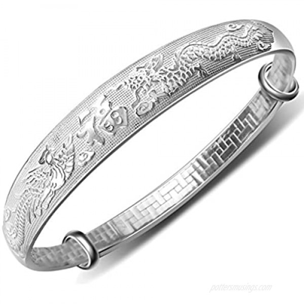 Merdia Women's 999 Solid Sterling Silver Chinese Dragon Phoenix Carved Adjustable Bangle Bracelet 27g Weight for Women Ladies and Elder.