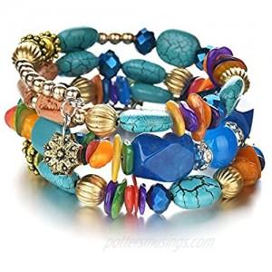 MIXIA Boho Multilayer Irregular Agate Beads Charm Bracelets for Women Vintage Jade Stone Man Bracelets Yoga Bangles Ethnic Jewelry