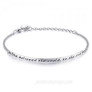 """NINAMAID """"She believed she could so she did"""" Engraved 925 Sterling Silver Inspirational Bangle Bracelets"""