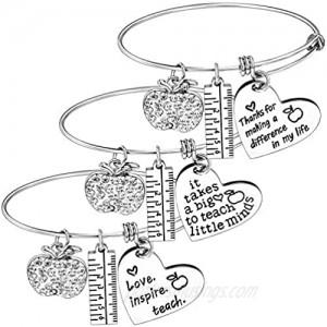 Nzztont Pack of 3 Teacher Bangles Gifts for Teacher Open School Gifts for Teachers Thank You Bangle Bracelets
