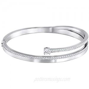SWAROVSKI Women's Fresh Bangle Bracelet Collection Rhodium Finish Clear Crystals