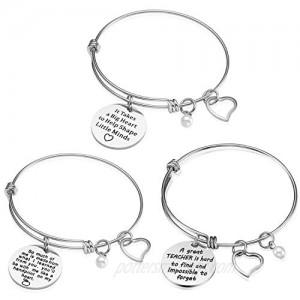 Teacher Appreciation Gift Idea - 3PCS Stainless Steel Expendable Inspirational Bangle Bracelet Set  Best Teacher Jewelry  Thank You Gifts for Women  Christmas Birthday (3PCS)
