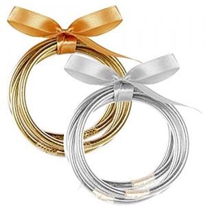 Thunaraz Gold Sliver Glitter Jelly Bangle Bracelet Set for Women Men Waterproof Resin Plastic Bracelets Gold and Sliver Glitter Filled Party Sparkling Fashion Bangles