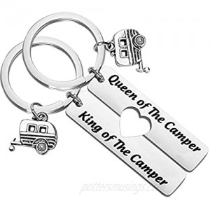 TIIMG Queen and King of The Camper Keychain RV Gifts for Camping Camping Gifts RV Camper Keychain Camper Lover Gifts